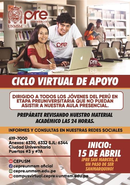 Centro Preuniversitario Unmsm Matricula Ciclo Virtual De
