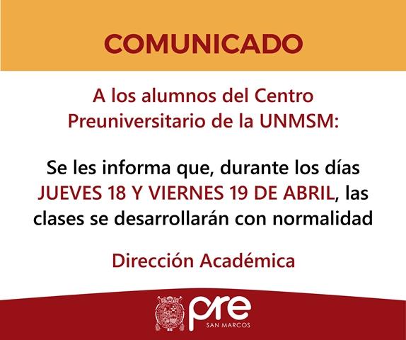 Centro Preuniversitario Unmsm Comunicado