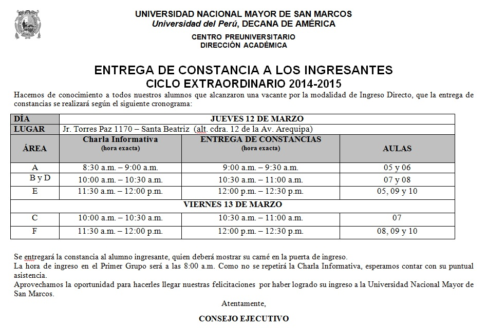 Centro Preuniversitario UNMSM - ENTREGA DE CONSTANCIA - INGRESANTES ...