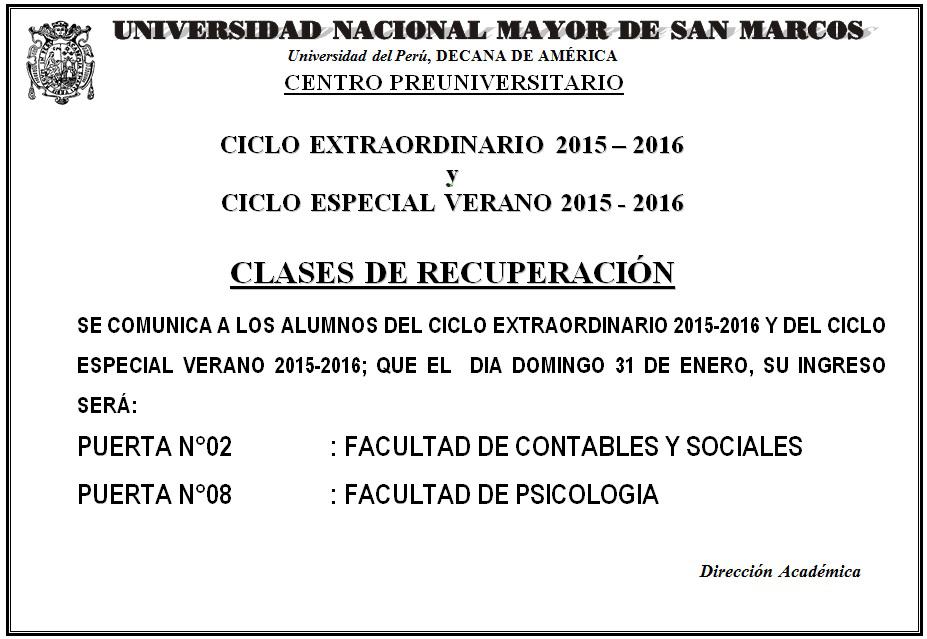 Centro Preuniversitario Unmsm Clases De Recuperaci 211 N