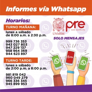 INFORMES VIA WHATSAPP