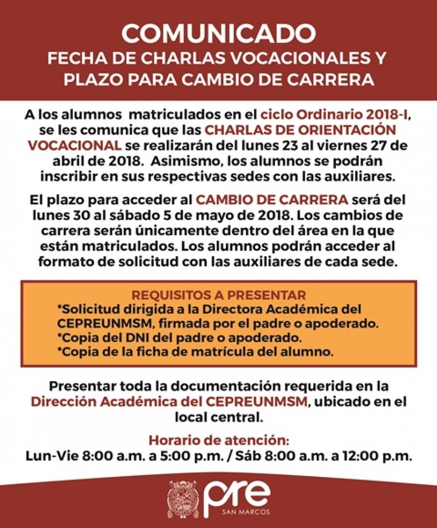 Centro Preuniversitario UNMSM - FECHA DE CHARLAS VOCACIONALES Y ...