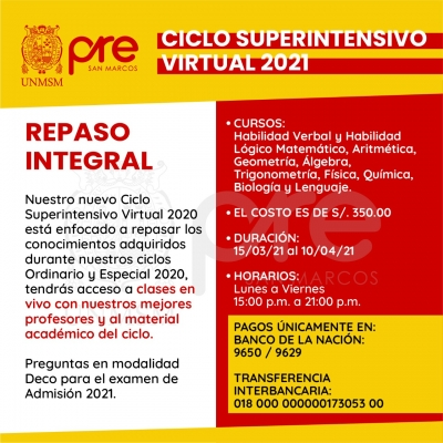 MATRICULA CICLO SUPERINTENSIVO VIRTUAL 2021