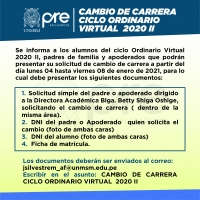 CAMBIO DE CARRERA CICLO ORDINARIO VIRTUAL 2020-II