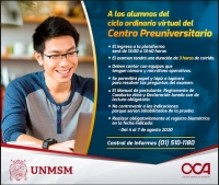 COMUNICADO - PRIMER EXAMEN CICLO ORDINARIO VIRTUAL 2020-I