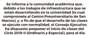 21 DE OCTUBRE INICIO DE CLASES CICLO 2019-II