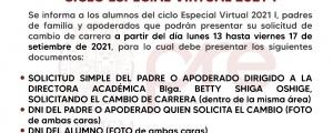 CAMBIO DE CARRERA CICLO ESPECIAL 2021-I