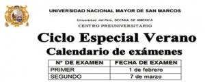 CICLO ESPECIAL DE VERANO 2015 - Calendario de exámenes