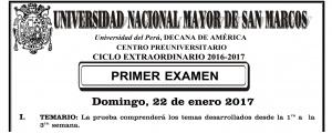 CICLO EXTRAORDINARIO 2016-2017 - PRIMER EXAMEN (TEMARIO, LUGAR,  PUERTAS DE INGRESO, LOCALES, HORA INGRESO, ETC.)