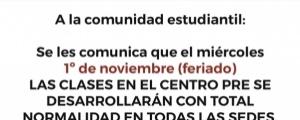 ASISTENCIA NORMAL EL 1ro DE NOVIEMBRE
