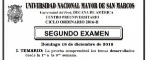 CICLO ORDINARIO 2016-II - SEGUNDO EXAMEN (TEMARIO, LUGAR, LOCALES, HORA INGRESO)