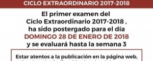 CAMBIO DE FECHA PRIMER EXAMEN CICLO EXTRAORDINARIO 2017-2018