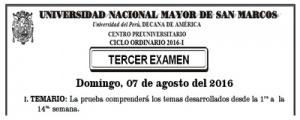 CICLO ORDINARIO 2016-I - TERCER EXAMEN (TEMARIO, LUGAR, HORA INGRESO)