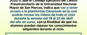 COMUNICADO - CICLO ORDINARIO 2020-II