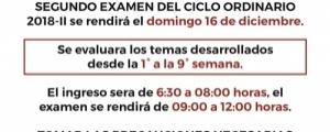 COMUNICADO - SEGUNDO EXAMEN CICLO ORDINARIO 2018-II
