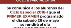 COMUNICADO - PRIMER EXAMEN CICLO ESPECIAL 2018-I