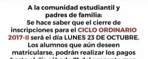 CIERRE DE INSCRIPCIONES CICLO ORDINARIO 2017-II