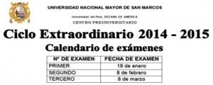 CICLO EXTRAORDINARIO 2014-2015 - Calendario de exámenes