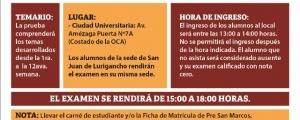 SEGUNDO EXAMEN CICLO ESPECIAL 2017-II - TEMARIO, FECHA Y HORA ENTRADA