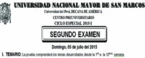 CICLO ESPECIAL 2015-I - SEGUNDO EXAMEN (TEMARIO, LUGAR, HORA INGRESO, SEDE Y AULA)