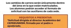 CAMBIO DE CARRERA CICLO EXTRAORDINARIO 2018-2019