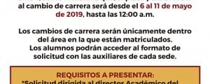 CAMBIO DE CARRERA CICLO ORDINARIO 2019-I