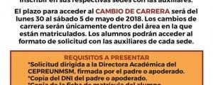 FECHA DE CHARLAS VOCACIONALES Y PLAZO PARA CAMBIO DE CARRERA