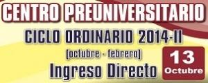 CICLO ORDINARIO 2014 II INGRESO DIRECTO