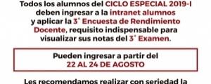 TERCERA ENCUESTA DE RENDIMIENTO DOCENTE - CICLO ESPECIAL  2019-I