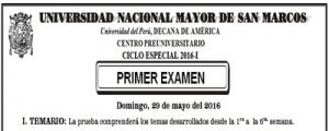 CICLO ESPECIAL 2016-I - PRIMER EXAMEN (TEMARIO, LUGAR, HORA INGRESO)