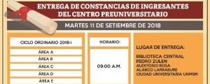 ENTREGA DE CONSTANCIAS A ALUMNOS QUE ALCANZARON VACANTE DEL CICLO ORDINARIO 2018-I