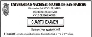 CICLO ORDINARIO 2015-I - CUARTO EXAMEN (TEMARIO, LUGAR, AULA, HORA INGRESO, SEDE)