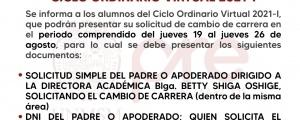 CICLO ORDINARIO 2021-I - CAMBIO DE CARRERA