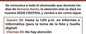 HORARIOS DE ATENCIÓN EN SEMANA SANTA