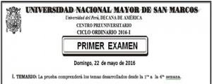 CICLO ORDINARIO 2016-I - PRIMER EXAMEN (TEMARIO, LUGAR, HORA INGRESO)