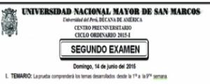 CICLO ORDINARIO 2015-I - SEGUNDO EXAMEN (TEMARIO, LUGAR, HORA INGRESO, SEDE Y AULA)
