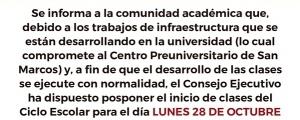 28 DE OCTUBRE INICIO DE CLASES CICLO ESCOLAR 2019