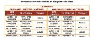RECUPERACIÓN DE CLASES POR FIESTAS NAVIDEÑAS Y AÑO NUEVO