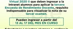 CICLO ESPECIAL 2020-II - TERCERA ENCUESTA DE RENDIMIENTO DOCENTE