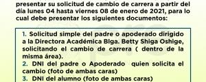 CAMBIO DE CARRERA CICLO ORDINARIO VIRTUAL 2020-II