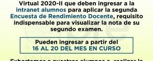 CICLO ORDINARIO 2020-II - SEGUNDA ENCUESTA DE RENDIMIENTO DOCENTE