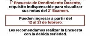 COMUNICADO 1ra ENCUESTA DE RENDIMIENTO DOCENTE - CICLO EXTRAORDINARIO 2017-2018