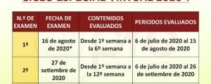 CRONOGRAMA DE EXAMENES CICLO ESPECIAL 2020-I
