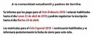 CIERRE DE INSCRIPCIONES DEL CICLO 2018-I