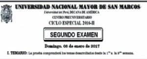 CICLO ESPECIAL 2016-II - SEGUNDO EXAMEN (TEMARIO, LUGAR, HORA INGRESO)