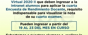 CICLO ORDINARIO 2020-II - CUARTA ENCUESTA DE RENDIMIENTO DOCENTE