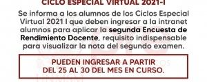 CICLO ESPECIAL 2021-I - SEGUNDA ENCUESTA DOCENTE