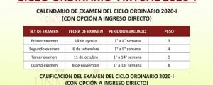 CALENDARIO Y CALIFICACIÓN DE EXÁMENES CICLO ORDINARIO 2020-I