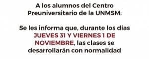 COMUNICADO - CLASES NORMALES 31 OCTUBRE Y 01 NOVIEMBRE