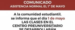 COMUNICADO - ASISTENCIA NORMAL EL 1ro DE MAYO